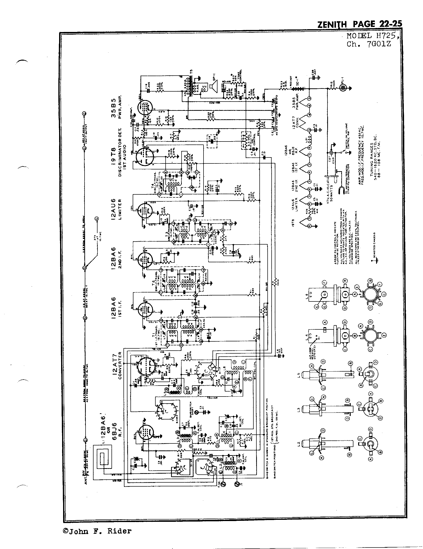Zenith Radio Corp H725 Antique Electronic Supply. Page 3 6246 Kb Rider Manual Volume 22. Wiring. Zenith Tube Clock Radio Schematics At Scoala.co
