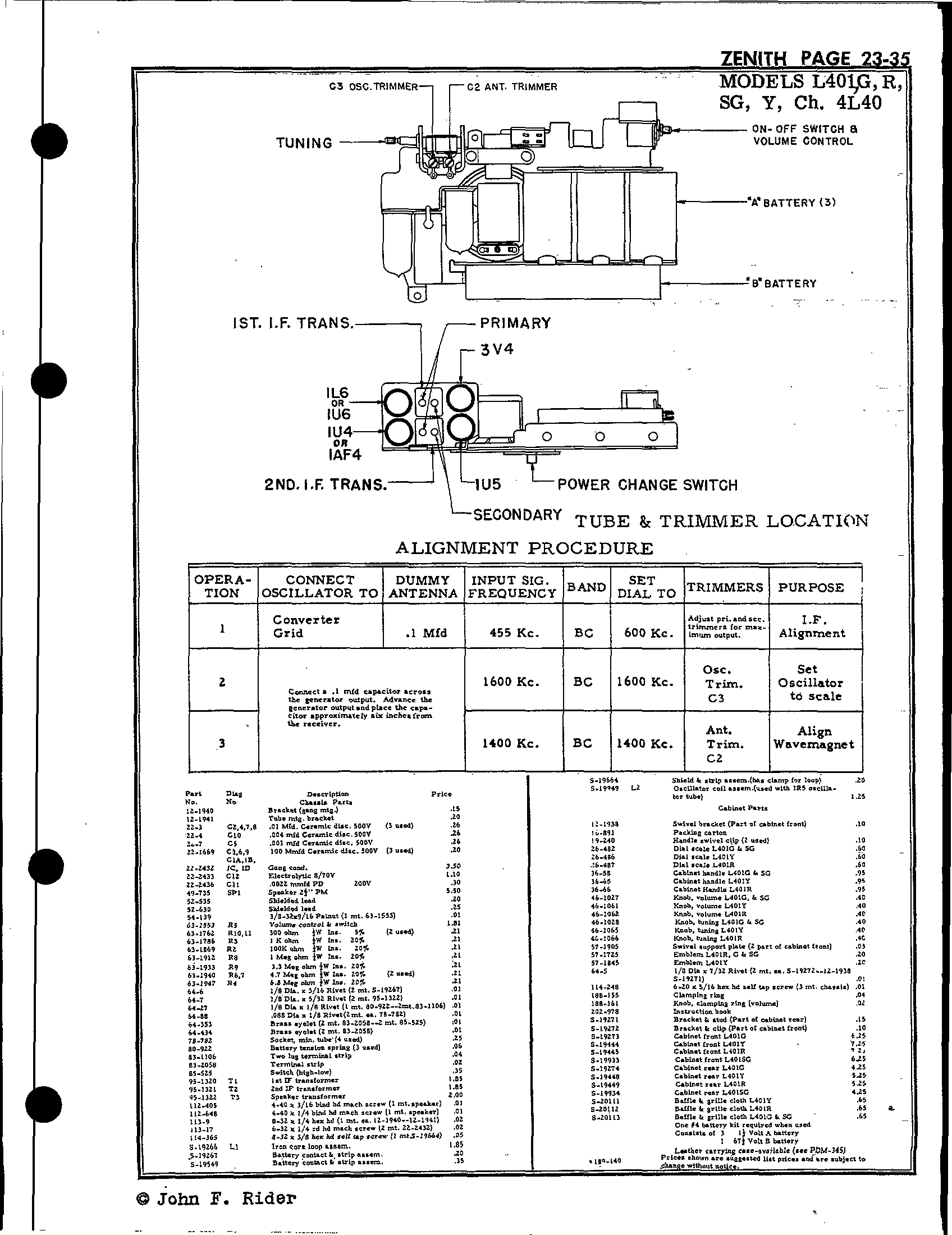 Zenith Radio Corp L401 Antique Electronic Supply. Page 1 5821 Kb Rider Manual Volume 23. Wiring. Zenith Tube Radio Schematics 1938 At Scoala.co