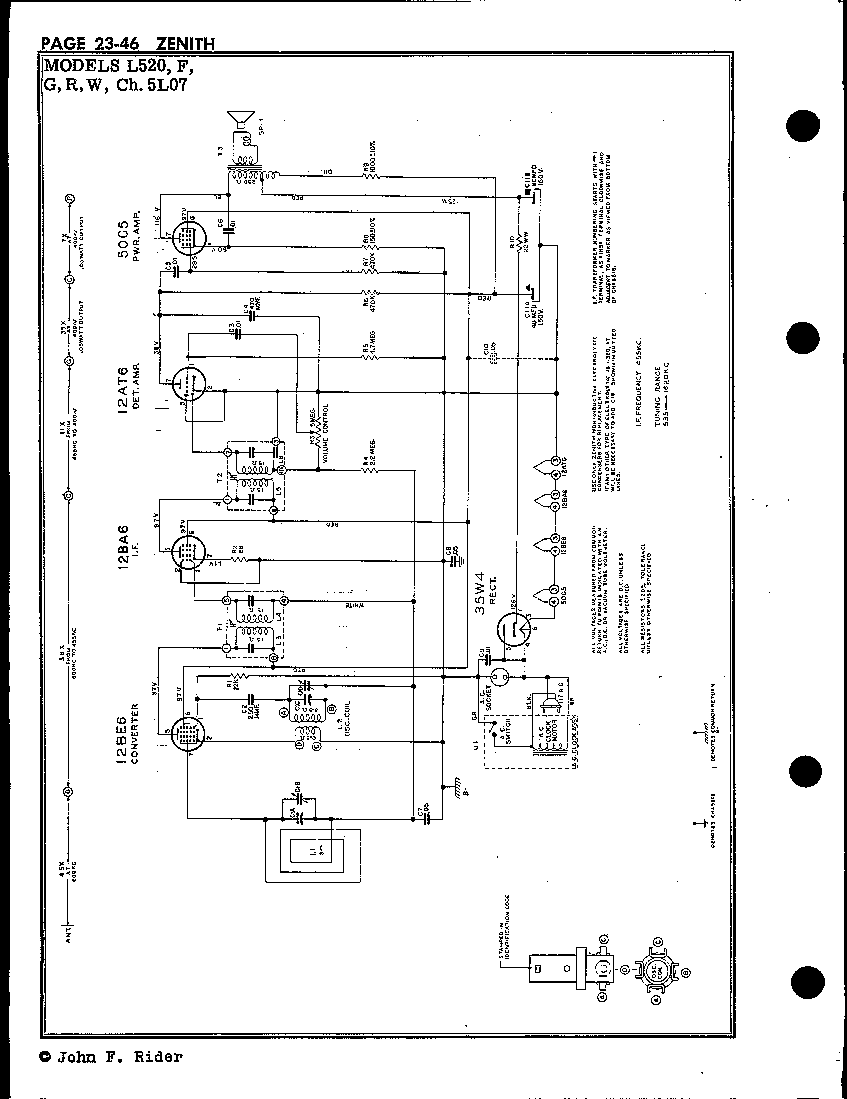 zenith tube radio schematics wiring diagram database Zenith Transistor Radio zenith radio corp l520 antique electronic supply all american 5 tube radio schematics page 2 39