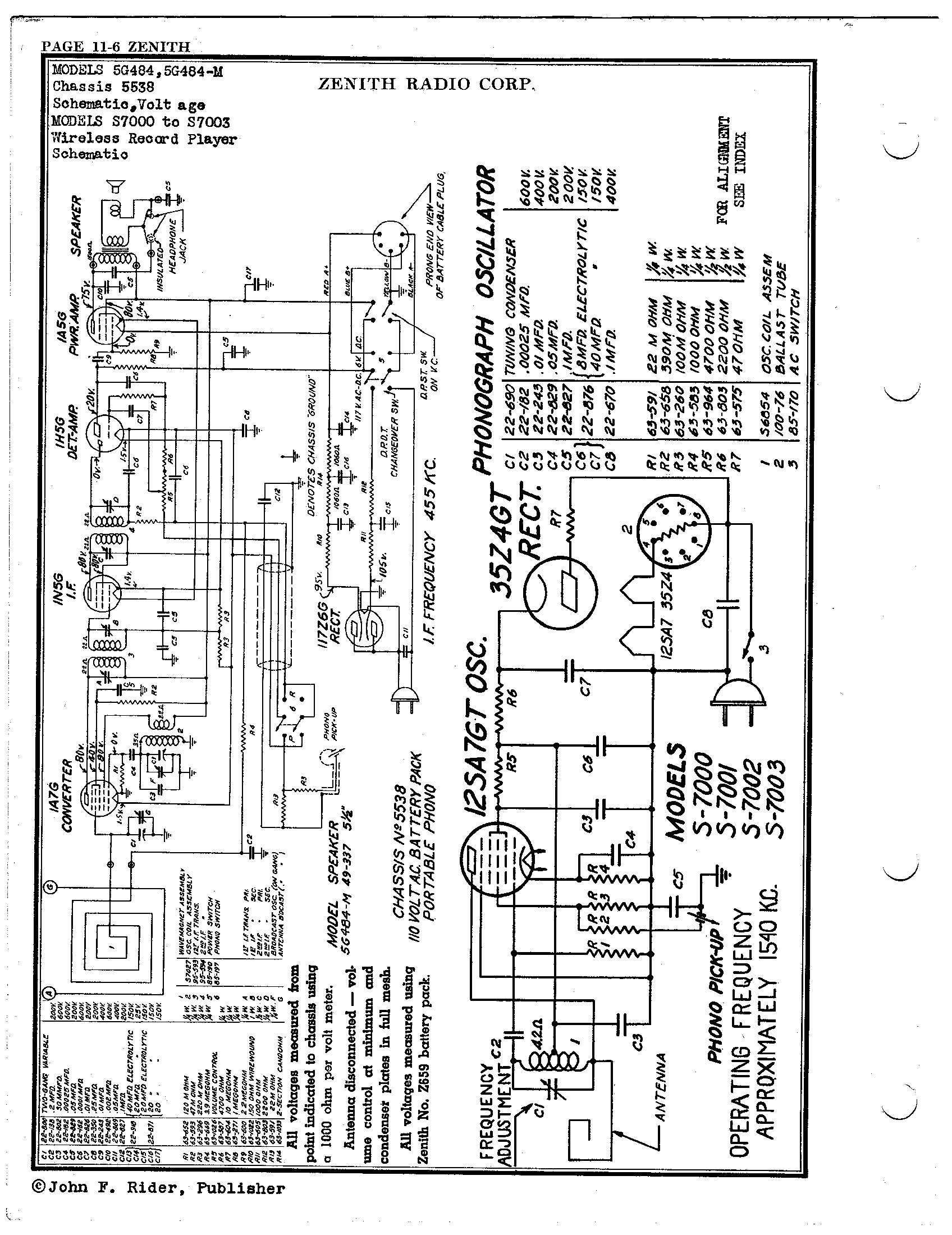 Zenith Radio Corp S7000 Antique Electronic Supply. Page 1 8496 Kb Rider Manual Volume 11. Wiring. Zenith Tube Radio Schematics N73 1 At Scoala.co