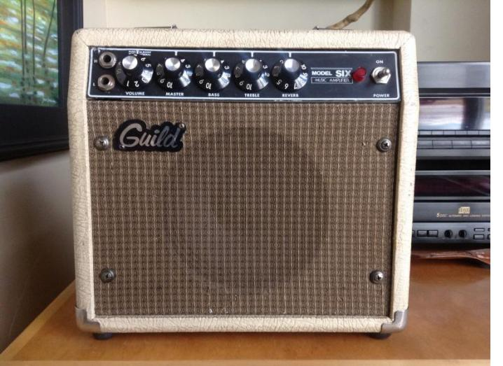 Perfect match, 1980s Guild Model 6 amp.