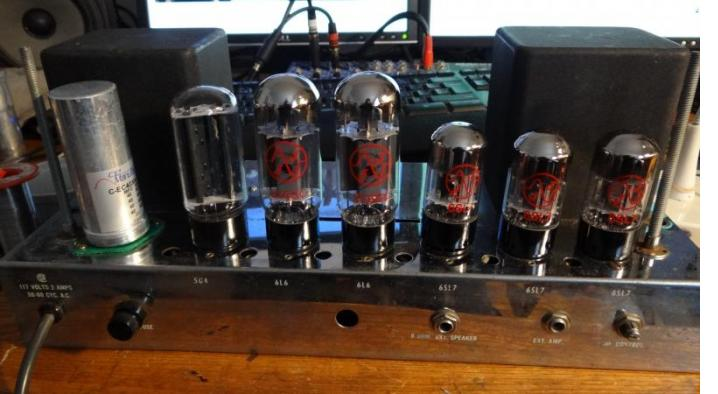 The quad 40µf in it's new home, Ampeg B15N 1961