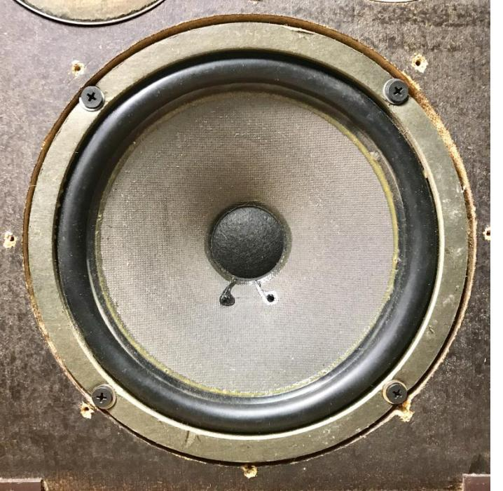 "A BIC 8950 8"" woofer on a Wharfdale W35"