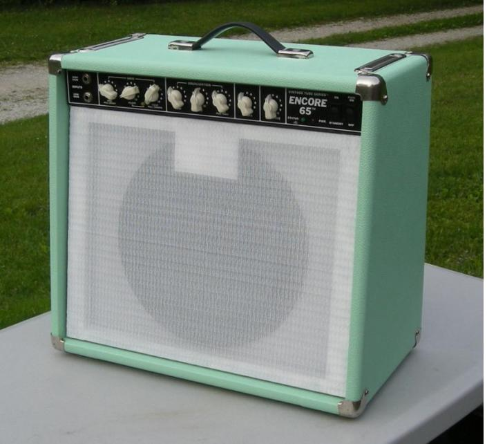 My Peavey Encore I re-tolexed in Seafoam Green from AES, thank you!