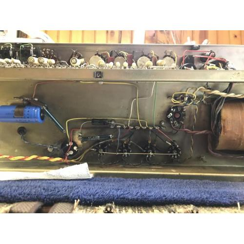 """Customer image:<br/>""""The underside of a Vox AC30 from 1964. The F&amp;T and the Sprague electrolytic caps I purchased from Antique Electronics Supply are within spec and physically fit perfectly. """""""
