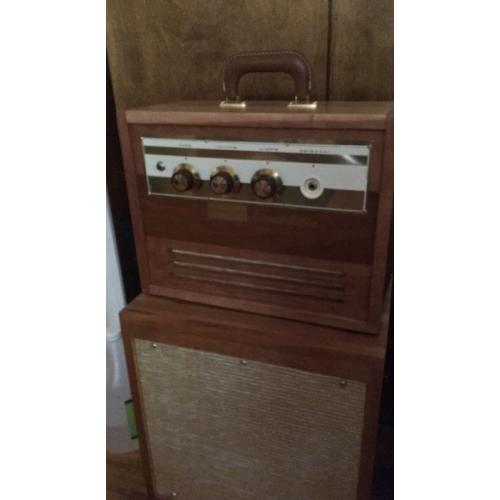 "Customer image:<br/>""Thank you Antique Electronic Supply for supplying me with this Fender handle. I use it to carry my home made amp head that I installed an old 60's Webcor record player amplifier in. It worked just fine."""