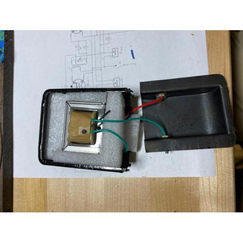 "Customer image:<br/>""Photo of a P-T156 stuffed inside a vintage Neutrodyne audio transformer case."""