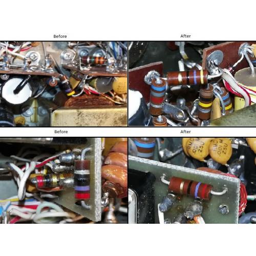 """Customer image:<br/>""""Failed resistors replaced in an R.L. Drake TR-4C"""""""