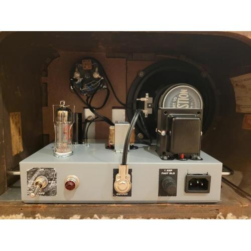 """Customer image:<br/>""""I modifies te MOD102+ kit to sit inside a 1938 Philco tabletop radio shell (so I put the switch and indicator lamp on the back and put the control pots on extension cords through 3.5mm jacks) and to have an IEC power connector. The amp sounds beautiful!"""""""