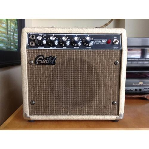 "Customer image:<br/>""Perfect match, 1980s Guild Model 6 amp."""