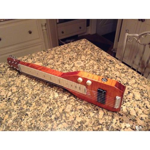 "Customer image:<br/>""Homebuilt lap steel parts from AES Jack, Jack Plate, Cream Vintage Control Knobs"""