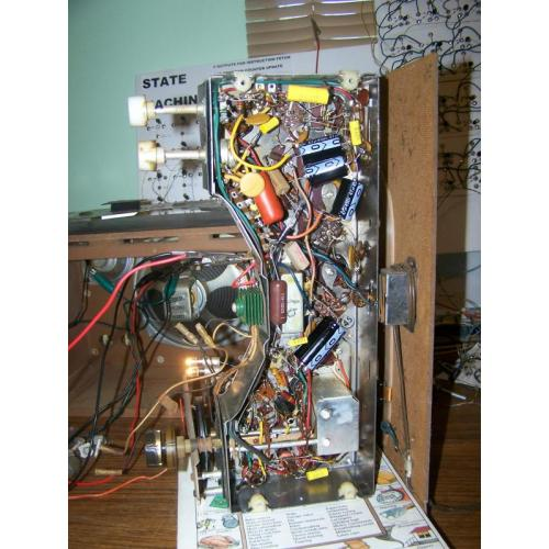 """Customer image:<br/>""""Under the chassis of my Zenith H-845 with the new metal film and electrolytic caps and replacement diode."""""""