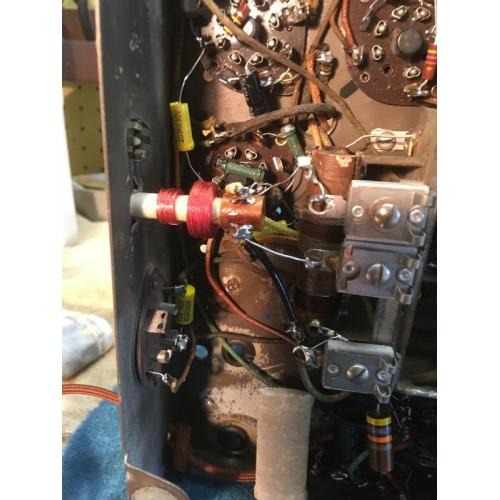 """Customer image:<br/>""""P-C70-A used to replace the mouse eaten broadcast band antenna coil in an Airline radio. Works great - remainder of coil OK."""""""