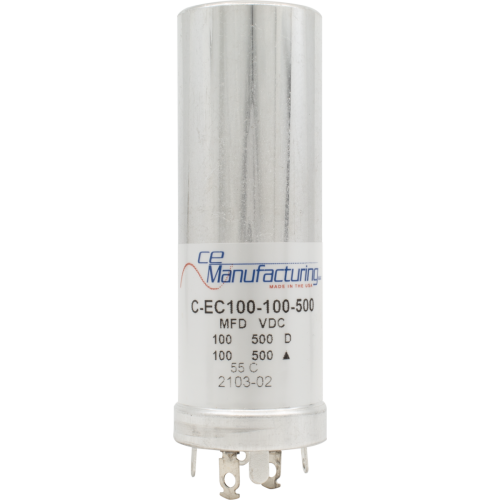 Capacitor - CE Mfg., 500V, 100/100µF image 1