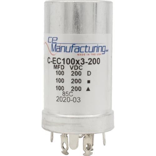 Capacitor - CE Mfg., 200V, 100/100/100µF, Electrolytic image 1
