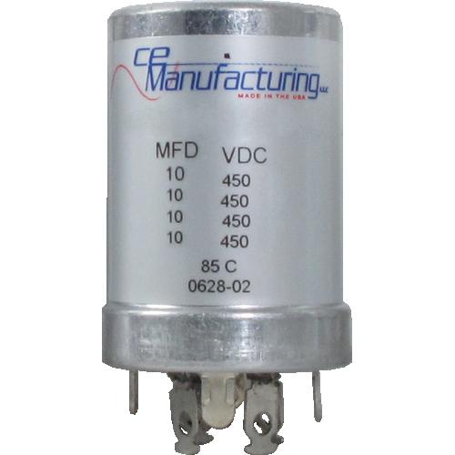 Capacitor - CE Mfg., 450V, 10/10/10/10µF, Electrolytic image 1