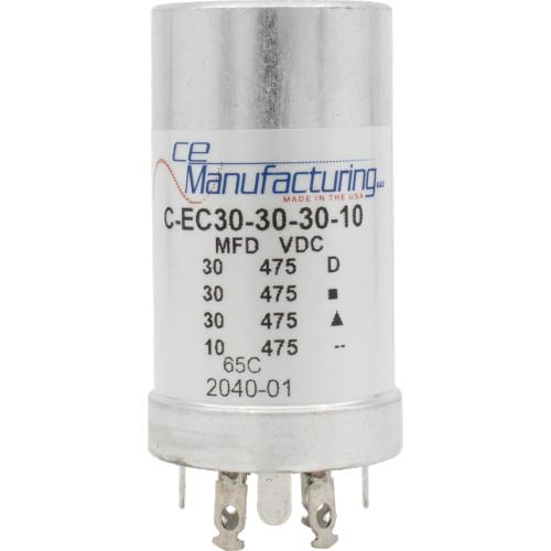 Capacitor - CE Mfg., 475V, 30/30/30/10µF, Electrolytic image 1