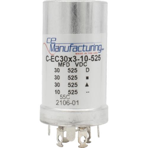 Capacitor - CE Mfg., 525V, 30/30/30/10uF, Electrolytic image 1