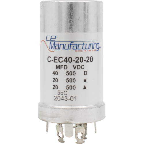 Capacitor - CE Mfg., 500V, 40/20/20 μF image 1