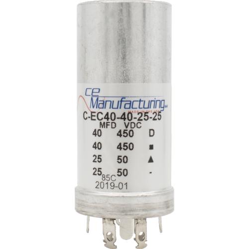 Capacitor - CE Manufacturing, 2x 40µF/450V, 2x 25µF/50V image 1