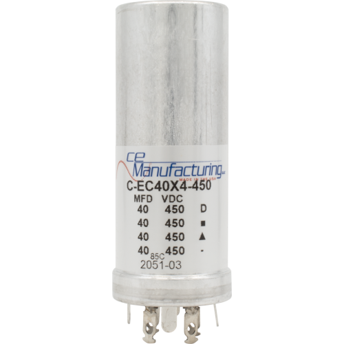 Capacitor - CE Mfg., 450V, 40/40/40/40µF, Electrolytic image 1