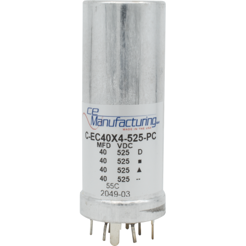 Capacitor - CE, 40/40/40/40µF, 525VDC, Electrolytic, PC Mount image 1