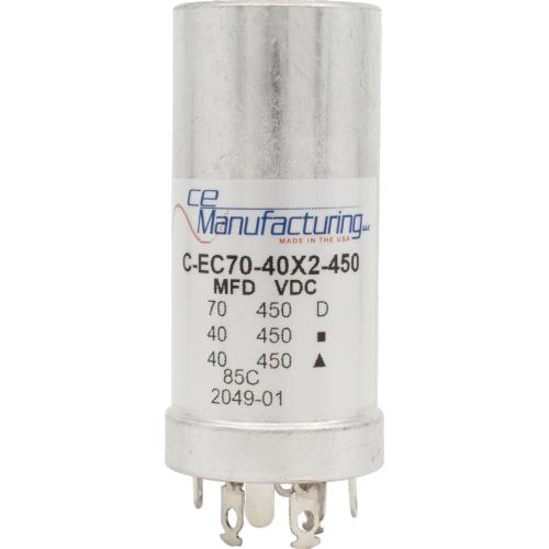 Capacitor - CE Mfg., 450V, 70/40/40µF, Electrolytic image 1