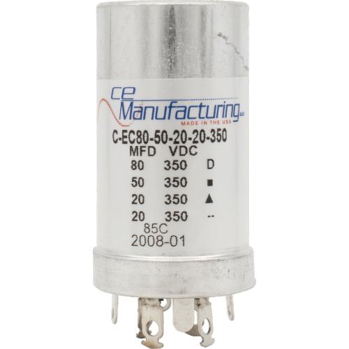Capacitor - CE Mfg., 350V, 80/50/20/20µF, Electrolytic image 1