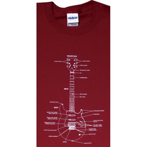 Shirt - Cardinal Red with Guitar Diagram image 1