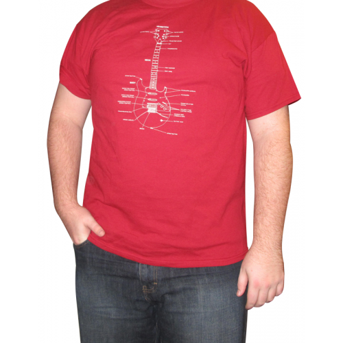 Shirt - Cardinal Red with Guitar Diagram image 2