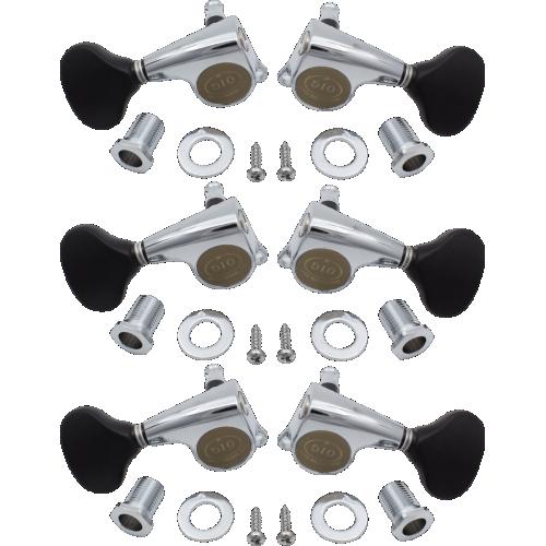 Tuners - Gotoh, Midsize 510 Black Plastic, Chrome, 3 per side image 1