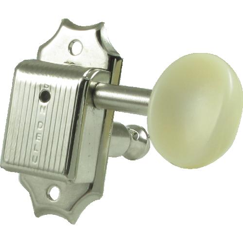 Tuner - Kluson, plastic, 3 per side, nickel/white image 1