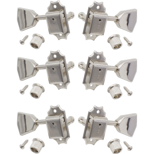 Tuners - Kluson, Nickel, Metal Keystone knob, 3 per side image 1