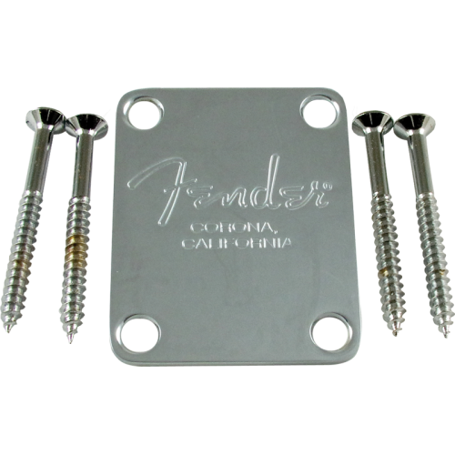 Neck plate, Fender® American Standard bass, chrome image 1