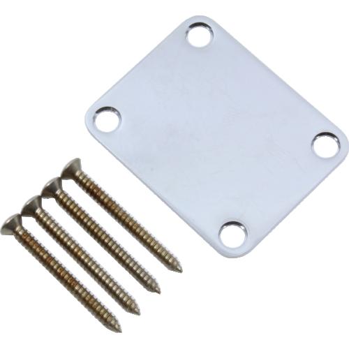 Neck Plate - Fender®, 4 Bolt, Road Worn®, Chrome image 1