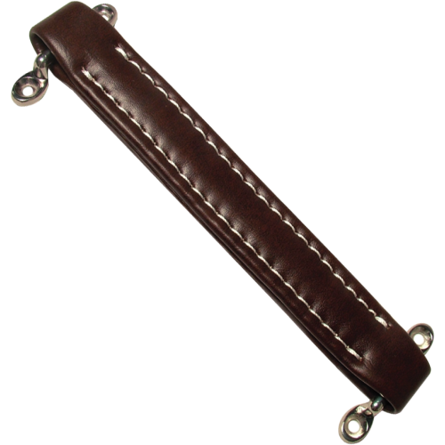 Amp handle, brown vintage with white stitching image 1