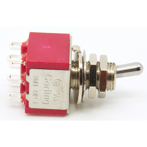 Switch - Carling, Mini Toggle, DPDT, 2 Position, Solder Lugs, Short Bat image 3