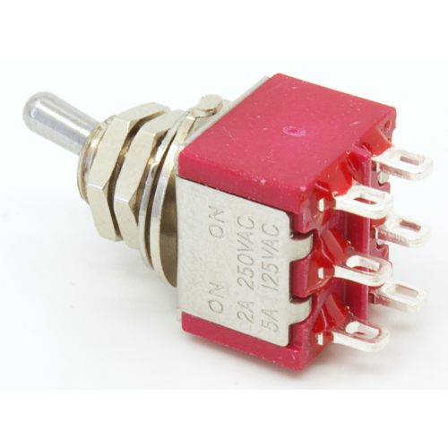 Switch - Carling, Mini Toggle, DPDT, 2 Position, Solder Lugs, Short Bat image 4