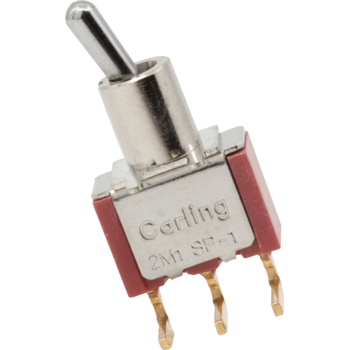 Switch - Carling, Mini Toggle, SPDT, On-On, PC Mount, right angle image 1