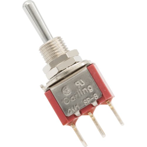 Switch - Carling, Mini Toggle, SPDT, 3-Position, PC Pins image 1