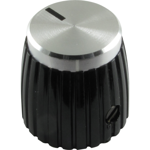 """Knob, black with silver caps, set screw """"Jubilee"""" style image 1"""