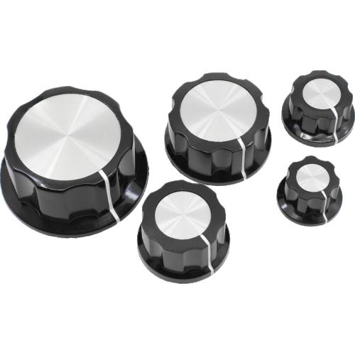Knob - Black, White Line, Silver Top, Set Screw, Boss Style image 1