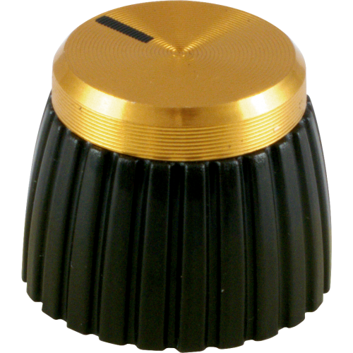 Knob - Marshall, Black, Gold Top, Push-On, D Shaft image 2