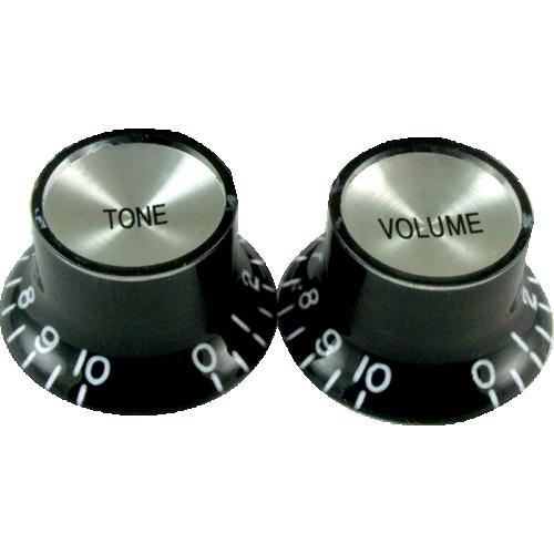 "Knob, vintage ""Top Hat"", black with chrome top (2 tone/2 volume) image 1"