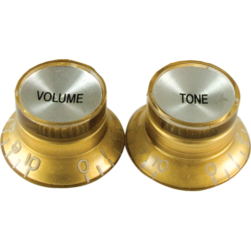 """Knob, vintage """"Top Hat"""", gold with chrome top (2 tone/2 volume) image 1"""