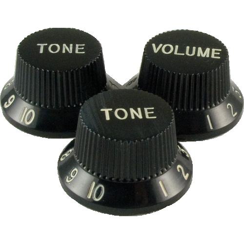 Knob - Stratocaster, 1 Volume, 2 Tone, Black image 1