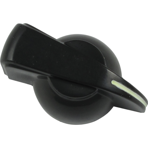Chicken-head Knob, push on for knurled shaft, black with glow line image 1