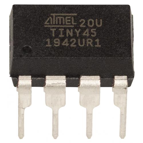 Integrated Circuit - ATtiny45, SN74LS175, 8-bit AVR Microcontroller, 8-pin DIP image 1