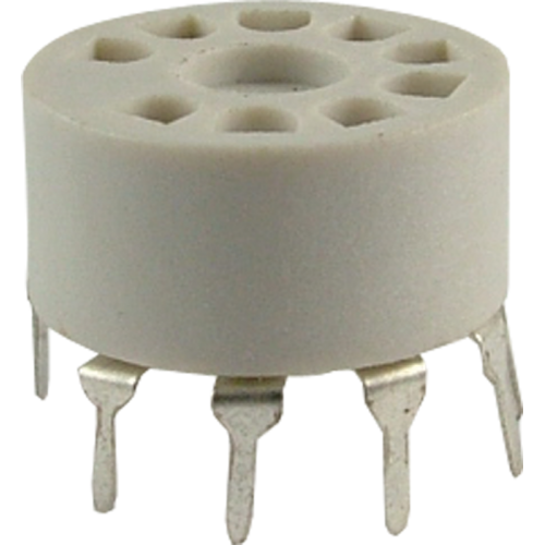 Socket - 9 Pin, Miniature, Plastic, PC Mount image 1