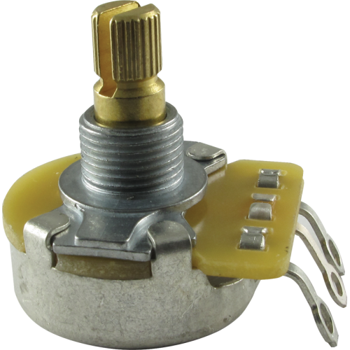 "Potentiometer - Fender®, 50kΩ, Audio, Split Shaft, 1/4"" Bushing image 1"